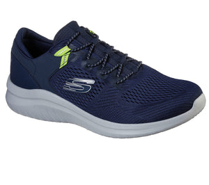 Skechers 232108 Ultra Flex 2.0 Kerlem Mens Navy and Lime Slip On Trainers