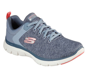 Skechers 149307 Flex Appeal 4.0 Air Cooled Memory Foam Ladies Slate/Pink Lace Up Trainers