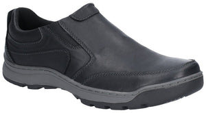 Hush Puppies Jasper Mens Black Leather Slip On Shoe