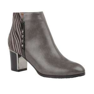 Lotus Rebel Ladies Grey With Zebra Print Heeled Ankle Boot