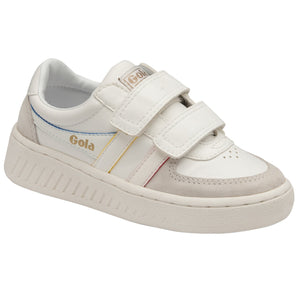 Gola Grandslam Prime Strap Childrens White Multi Touch Fastening Trainers