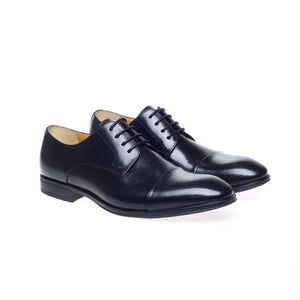 Steptronic Franco Mens Black Waxed Leather Toe Cap Shoes