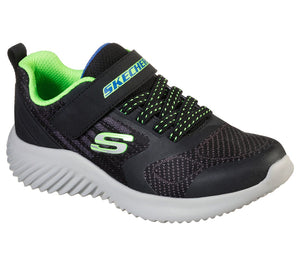 Skechers 403732L Bounder Gorven Boys Black and Lime Rip-Tape Fastening Trainers