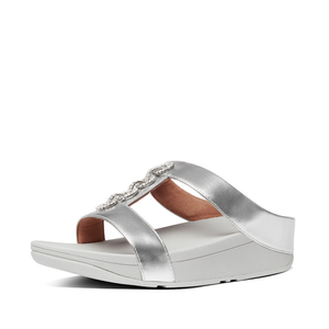 Fitflop CH1-011 Fino Sparkle Ladies Silver Slide Sandals