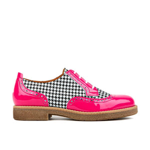 Shoe Embassy The Artist Ladies Pink and Black Dogtooth Leather Lace Up Brogues