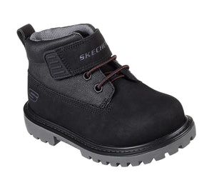 Skechers 93165N Mecca Boulders Black Boys Ankle Boots - elevate your sole