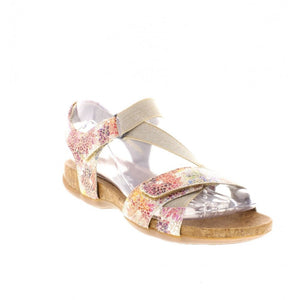 Remonte R3257-91 Multi Beige Floral Hook and Loop Elasticated Strappy Sandals