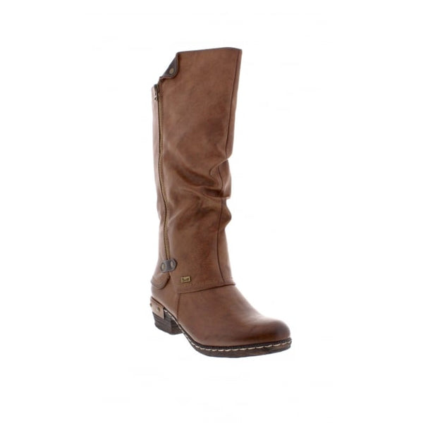 Rieker 93655-26 Ladies Tan Knee Length Zip Up Boots