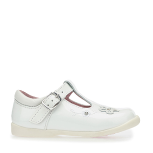 Start-Rite Sunflower White Patent Leather T-Bar Shoes - elevate your sole