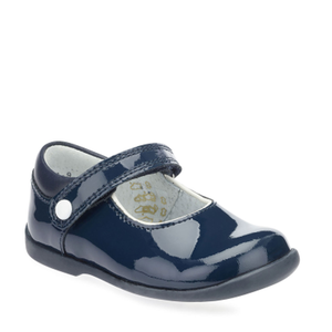 Start-Rite Nancy 1462-9 Girls Navy Patent Rip Tape Fastening Shoe - elevate your sole