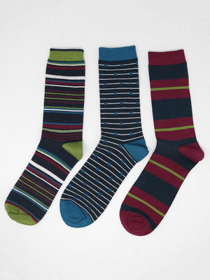 Thought SBM 4425 Classic Stripe Mens Bamboo Socks 3 Pack