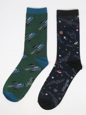 Thought SBM 5035 Galactic Mens Bamboo Socks 2 Pack