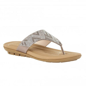 Lotus Patti Silver/Diamante Thong Sandals - elevate your sole