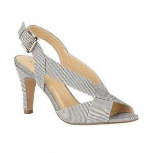Lotus Endive Silver Shimmer Textile Open Toe Heels - elevate your sole