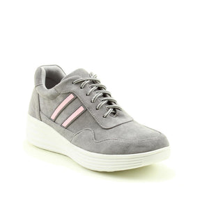 Heavenly Feet Alise Grey Memory Foam Lace Up Trainers