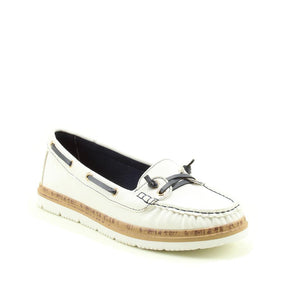Heavenly Feet Collett White Memory Foam Slip On Deck Shoes