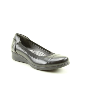 Heavenly Feet Zest Black Memory Foam Slip On Loafer Wedge Shoes