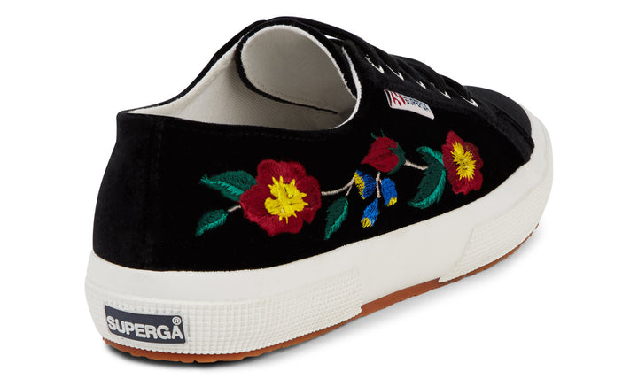 Superga 2750 Embaivelvetw Womens Velvet Floral Black Trainers