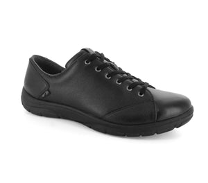 Strive Weston Black Leather Ladies Lace Up Orthotic Shoes