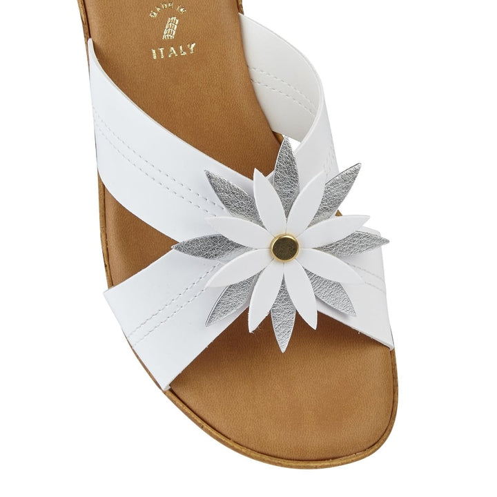 Lotus Japonica White & Silver Wedge Sandals - elevate your sole