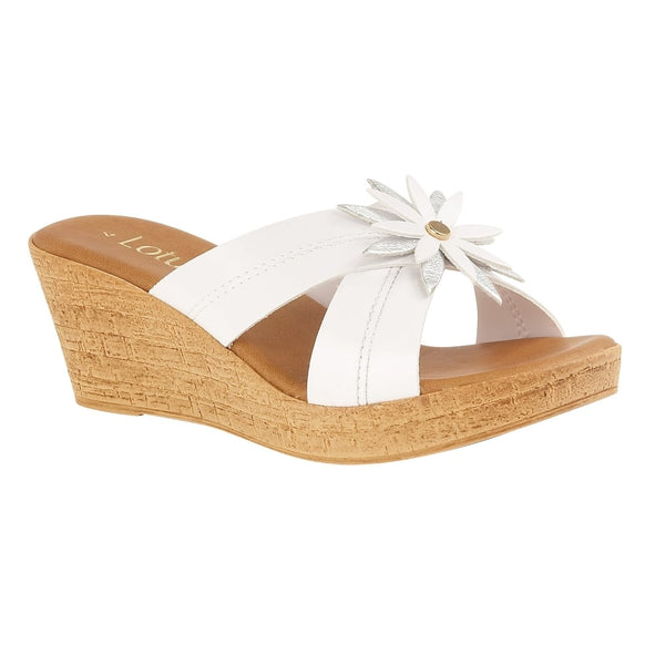 Lotus Japonica White & Silver Wedge Sandals