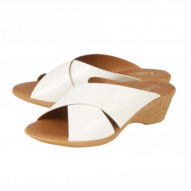 Lotus Tonia White Patent Mule Sandals - elevate your sole