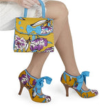 Ruby Shoo Willow Mustard Floral Heels