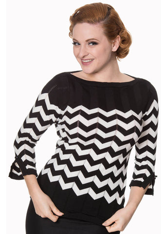 Banned Vanilla Chevron 60's Top Zwart