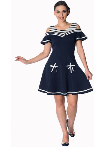 Banned Set Sail Off Shoulder 60's Jurk Navy