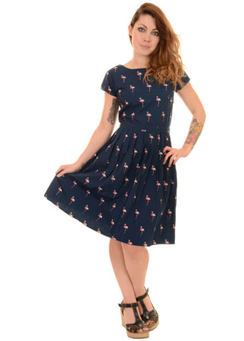 Run and Fly Flamingo Pose 50's Jurk Navy