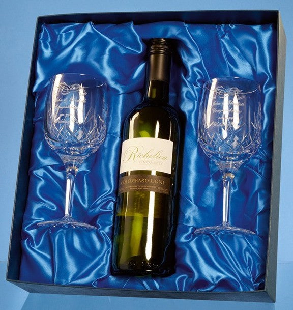 White Wine & Wine Goblet set in Presentation Box