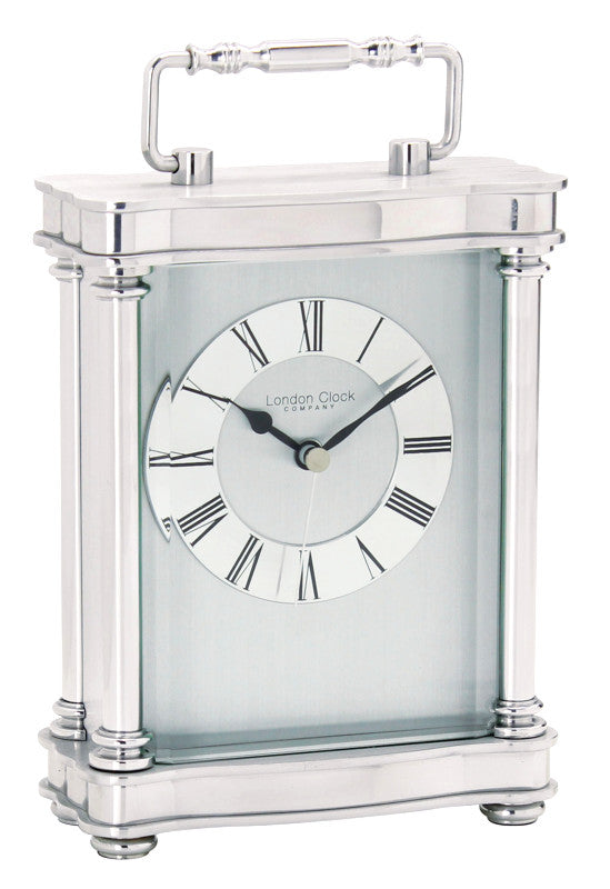 London Clock Silver Finish Carriage Clock 03068