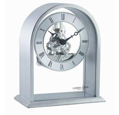 London Clock Silver Arch Skeleton Mantle Clock 03127