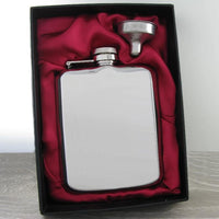 Luxury Hip Flask 6oz Shiny Steel