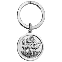 Saint Christopher Silver Keyring 27mm Round