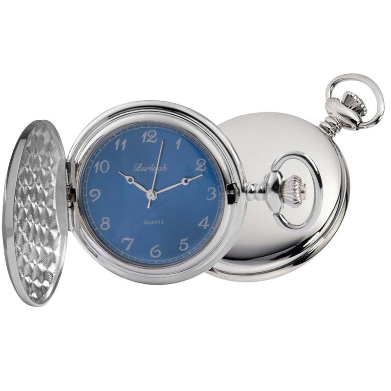 Chrome Full Hunter Blue Face Pocket Watch by Burleigh CHR1254