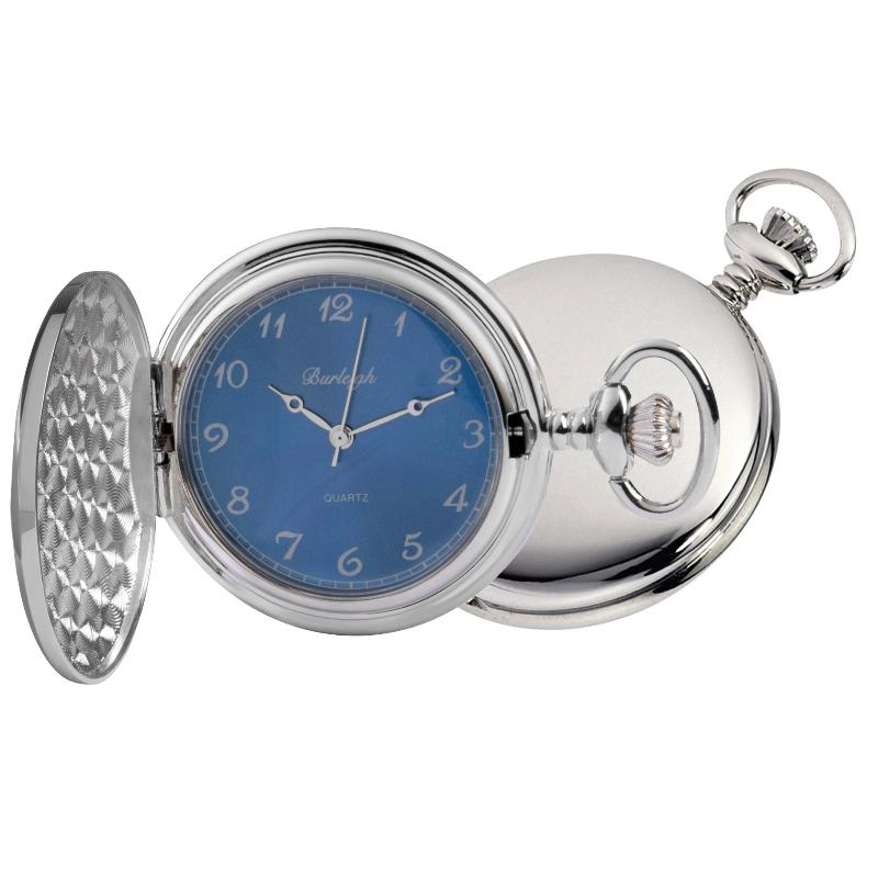Chrome Full Hunter Blue Face Pocket Watch by Burleigh with Stand CHR1972