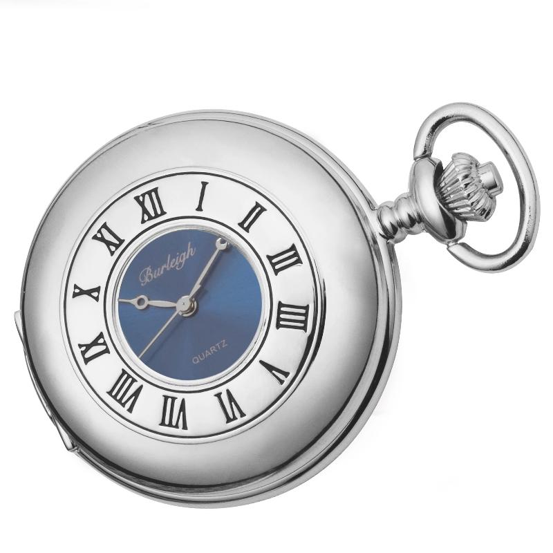 Chrome Half Hunter Blue Face Pocket Watch by Burleigh with Stand CHR1973