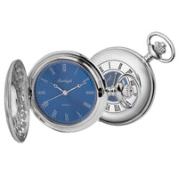 Chrome Half Hunter Blue Face Pocket Watch by Burleigh CHR1255