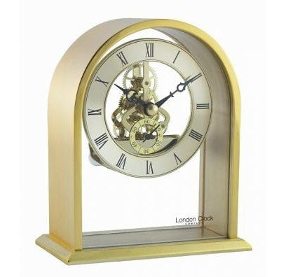 London Clock Gold Arch Skeleton Mantle Clock 03128