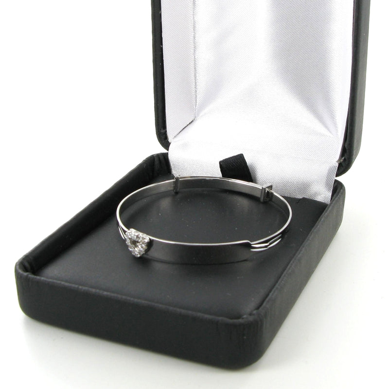 Zirconia Heart Baby Identity Bangle