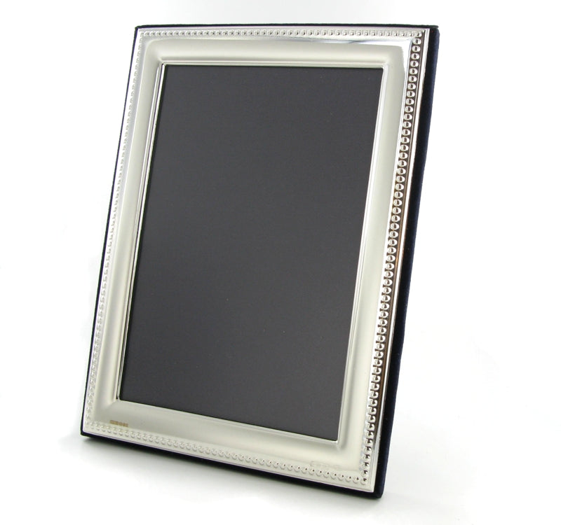 "Solid Silver Photo Frame Bead Edge 11""x9"" Portrait 6574GT2"