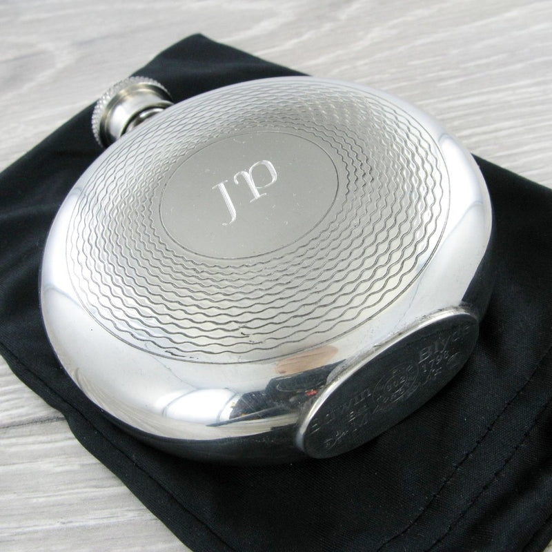 Pewter Hip Flask 6oz Round with Pattern Ring