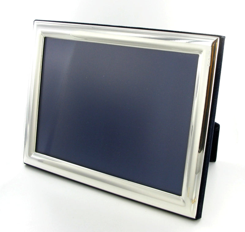 "Solid Silver Photo Frame Plain Edge 9""x7"" 6570EX3 - Landscape"
