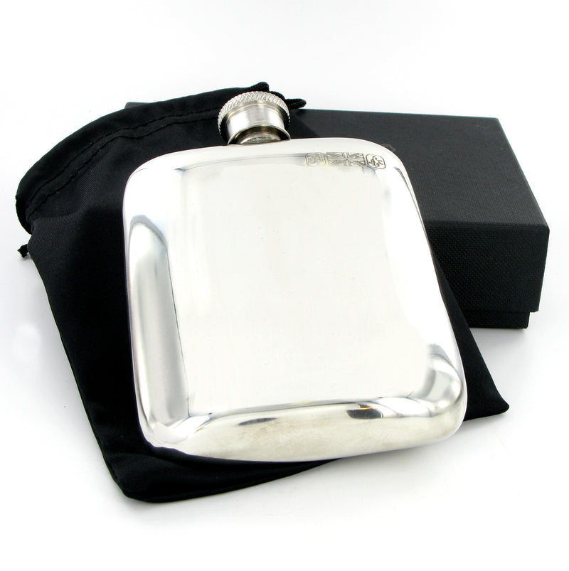 Pewter Hip Flask 4oz Cushion