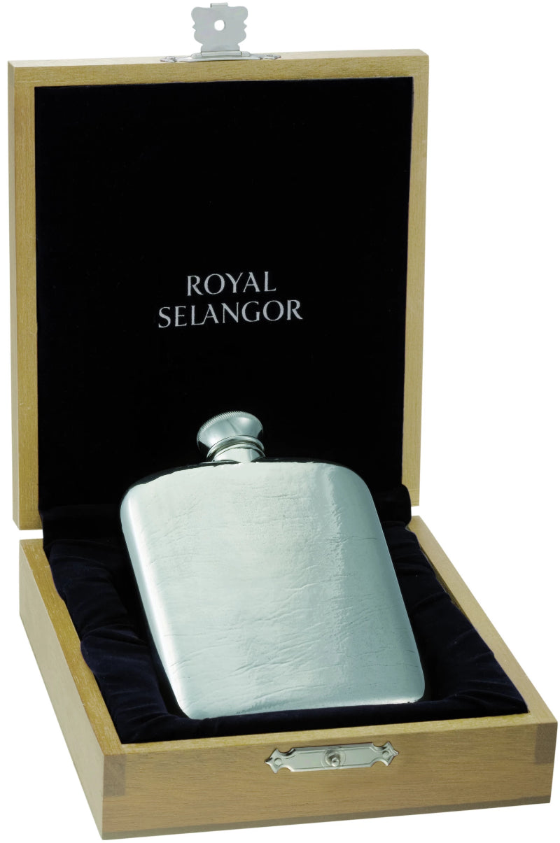 Royal Selangor Classic Hip Flask 4.5oz  & Wooden Case OE0050
