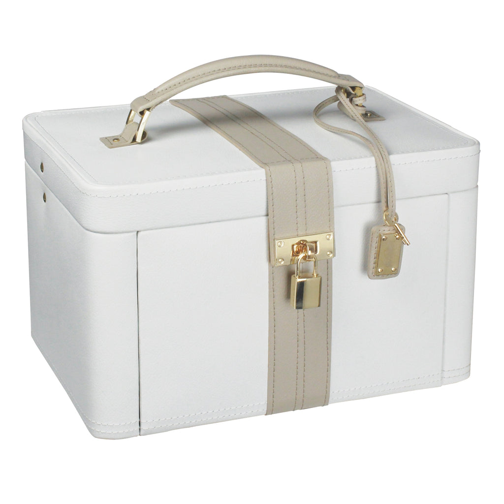 Dulwich Designs Belgravia Large Jewellery Box 71023 Cream Leather