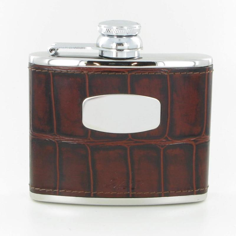 Marlborough of England Hip Flask 4oz Steel & Brown Leather ST5045