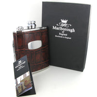 Marlborough of England Hip Flask 6oz Steel & Brown Leather ST5046