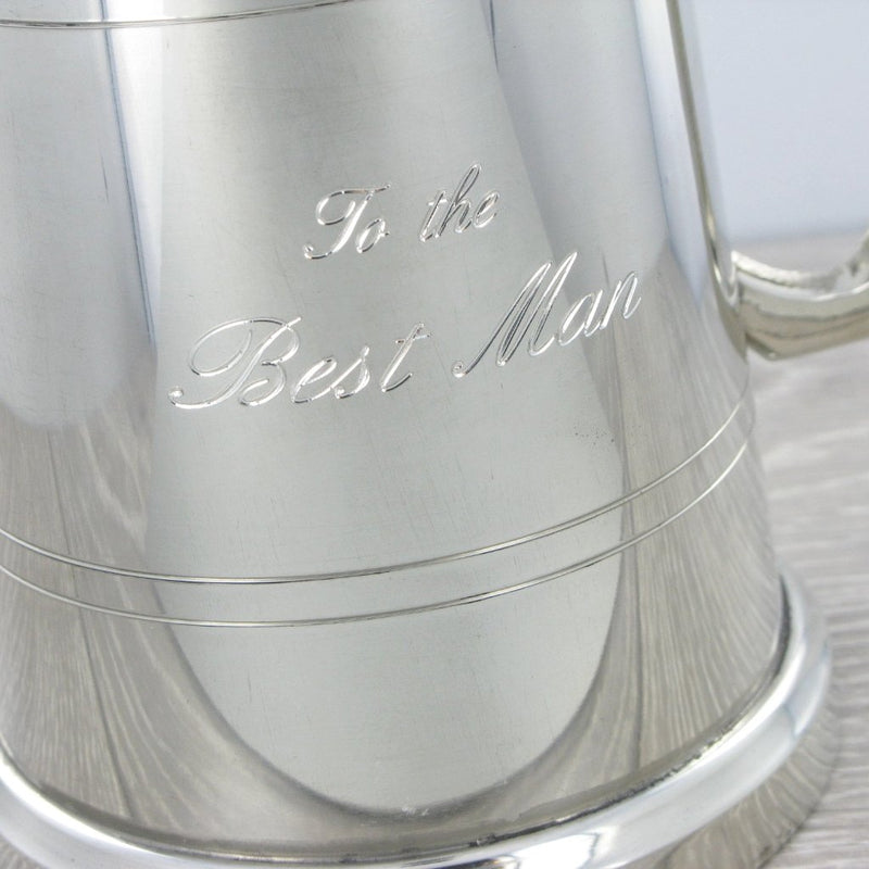 Pewter 1 Pint Tankard with Glass Bottom